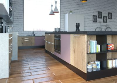 Cocina Trento Roble T09- F70 Gris Claro Vista 3