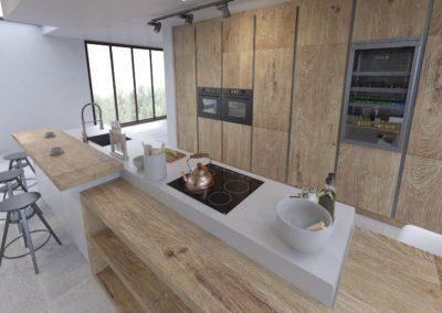 Cocina Vega Roble Nudos H03 - Blanco Mate Vista 3